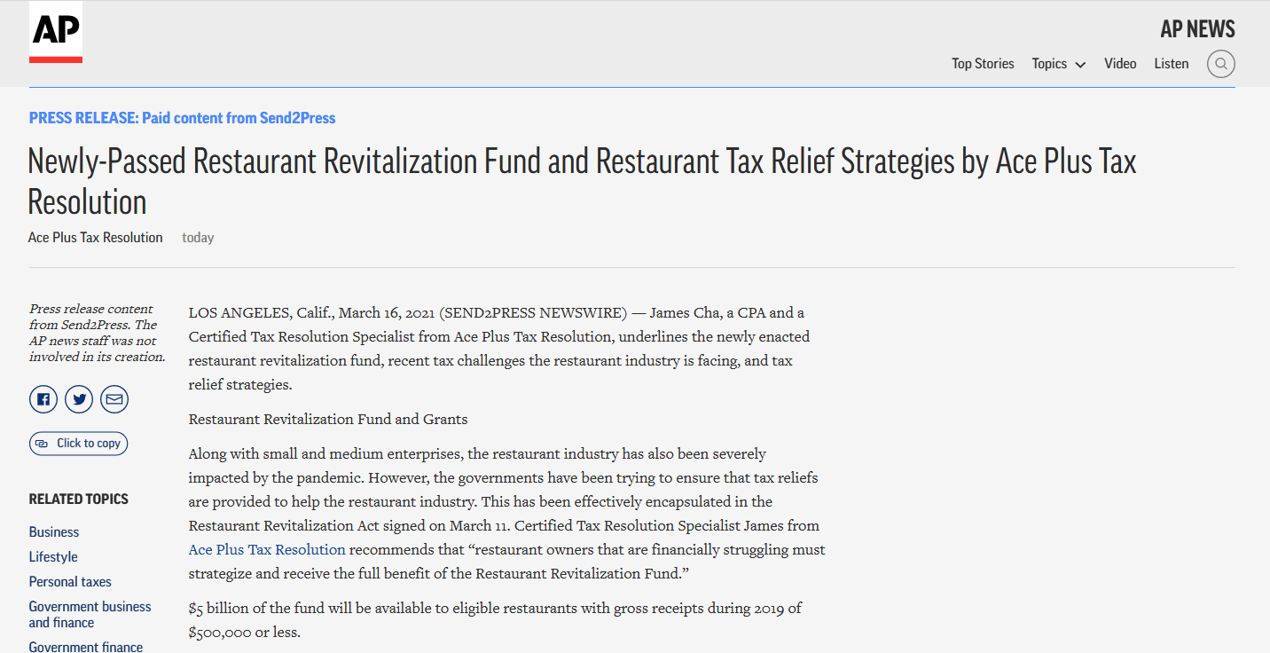 Screenshot of Ace Plus Tax Resolution Article on Associated Press
